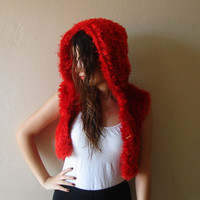 Hand knitted Red Hooded Red Vest, Knitted Hoodie, Chunky Jacket, Boho Bolero, Furry Hooded Vest size S / M
