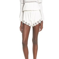 Sun & Shadow Lace Trim Off the Shoulder Romper | Nordstrom