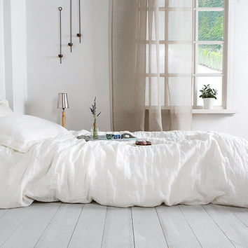 White Stone Washed Linen Duvet Cover- Washed Linen Duvet Cover- Linen duvet cover-Available in any size.