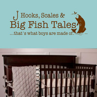 Big Fish Tales- that's what boys are made of- Vinyl Wall Decal Boys bedroom decor Wall Quotes