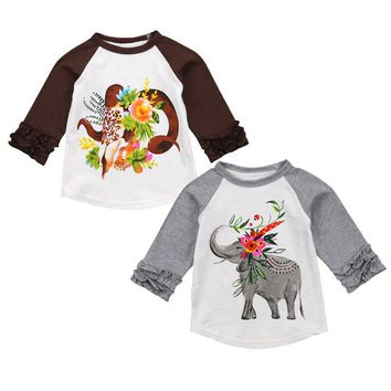 Newborn Infant Baby Boy Girl Cartoon Floral Long Sleeve Tops T-shirt Cotton 1-5Y