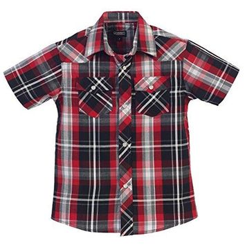 Gioberti Boys Casual Western Plaid Pearl Snap Short Sleeve Shirt, Red / Black : Size 7