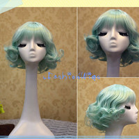 30cm Ice Green Beautiful Short Lolita Cosplay Wig, Anime Costume Wigs for Party UF077