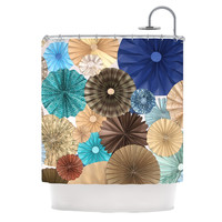 "Heidi Jennings ""Day At The Beach"" Tan Aqua Shower Curtain"