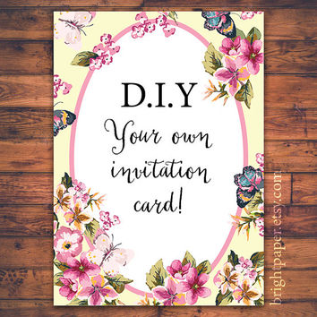 DIY Floral Wedding Birthday Celebration Thank you Greeting Invitation Invite Card Digital Printable Template Microsoft Word iWork Pages