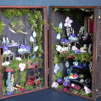 Box fairy house. Charming gift,fairy garden, fairy dollhouse, fairy furniture, miniature furniture, indoor garden. Fairy display.