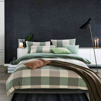 ac DCK83Q Hot Deal Bedroom On Sale Bedding Cotton Simple Design Rinsed Denim Cotton Linen Plaid Bed Sheet Quilt Case Bedding Set [6451769606]