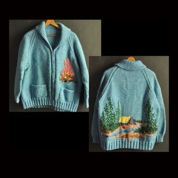 Vintage Cowichan Cardigan Sweater Jacket Hand made Knit  Zipper Campfire Camping design