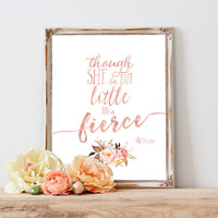 And Though She Be But Little, Tribal Nursery, Nursery Wall Art, Nursery Art, Wall Art, Blush Nursery Art, Coral, Pink, Rose, Blush, Floral