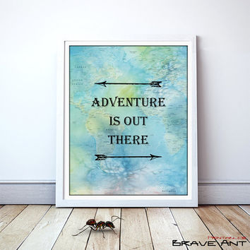 Adventure Is Out There,  Typography, Printables, Quote Print, Printable art wall decor, Quote poster, Art Deco, Instant Download