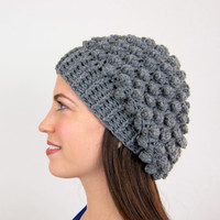 Slouchy Grey Textured Knit Hat For Year Round