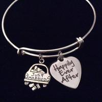Just Married Happily Ever After Silver Expandable Charm Bracelet Wedding Gift Adjustable Wire Bangle Shower Bridal Trendy