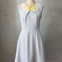 PRIM IN GRAY - Soft dove gray vintage inspired dress with lace bib necklace // mustard yellow ribbon // bridesmaids // full flared skirt
