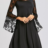 Black Patchwork Irregular Lace Round Neck Long Bell Sleeve Midi Dress