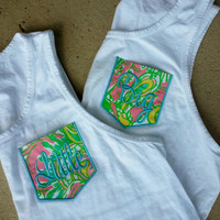 Monogrammed Big/Little Pocket Tanks with Lilly Fabric font SWEET SCRIPT