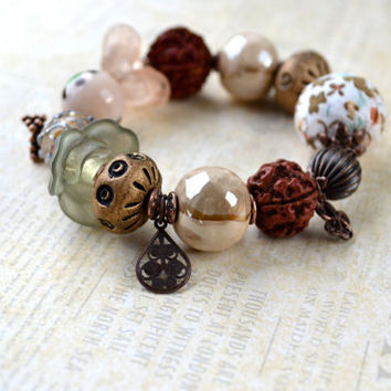 Rustic Bracelet, Fall Jewelry, Chunky Bead Bracelet, Tribal Style, Brown & Cream Bracelet, Eclectic Jewelry, Autumn Colors, Boho, Asymmetric