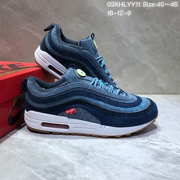 kuyou N828 Nike Air Max 97 VF SW Cushion Sports Running Shoes Dark Blue