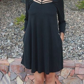 Steal Your Attention Black Cutout Swing Dress
