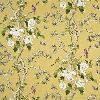 G P & J Baker Fabric BP10463.5 Tree Peony Strong Yellow/Ivory