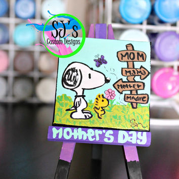 Mini Snoopy Personalized Mother's Day Canvas: Any occasion besides mother's day painting too