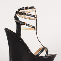 Liliana Studded Strappy Open Toe Wedge