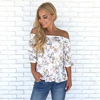 Spring Shower Bloom Off Shoulder Blouse