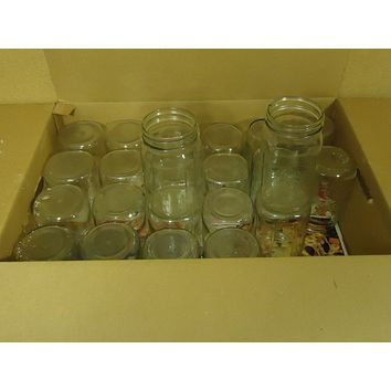 Name Brand Lot of 23 Wide Mouth Jars 7in x 4in Clear 1 Quart Glass -- Used