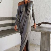 Dark Gray Long Sleeve Asymmetric Maxi Dress