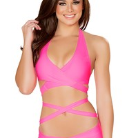 Hot Pink Tie Halter and Hipster Short Set