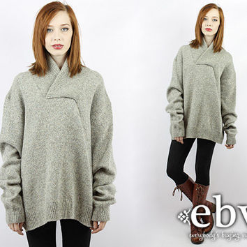 Vintage 80s Blue Cream Taupe Wool Sweater Vintage Sweater Oversized Sweater Oversized Knit Chunky Knit Grey Sweater Cream Sweater