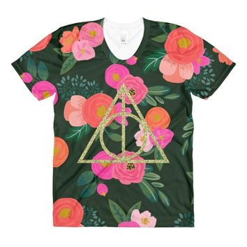 Glitter Deathly Hallows Floral Women's Tee