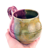 Big Purple and Green Mug by mnjohn on Etsy