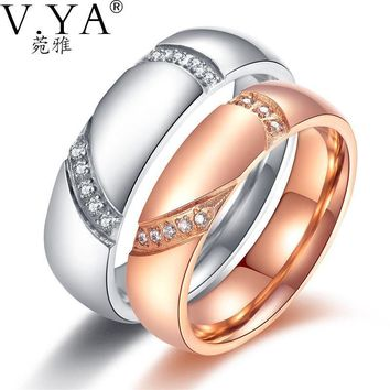 V.YA Couple Healf Heart Puzzle Rings Romantic White / Rose Gold Color Cubic Zirconia /Men Wedding Anniversary Jewelry Charm