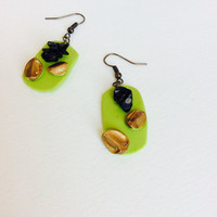 Bright Green Dangle Earrings with Black Pebble accents
