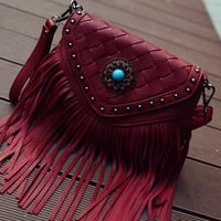 Red Front Weave Rivet Tassel Shoulder Bag