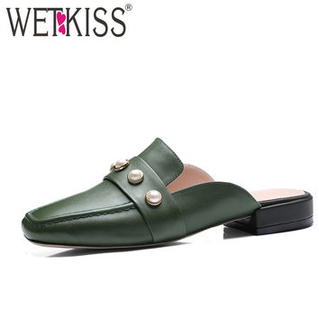 WETKISS Genuine Leather Pearl Vintage Mules Women Summer Slingback Pumps Woman Shoes Low Heels Square toe Mules New Big Size