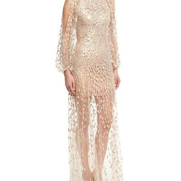 Jenny Packham Sequined-Petal Illusion Tulle Gown, White/Gold