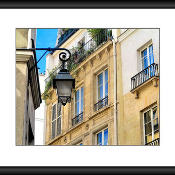 Paris Decor, Paris Photography, France Photo, Wall Art, Romantic Balcony, Street Lamp, Beige Decor, 8 x 10 Print, Fine Art Photography,