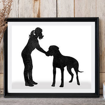 Black watercolor, Girl with dog, Great Dane print, Printable art, Modern wall decor, Girly art, Dog minimalist, Digital print, Greeting card