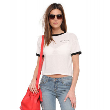 White Non Merci Paris Print Short Sleeve Cropped Tee
