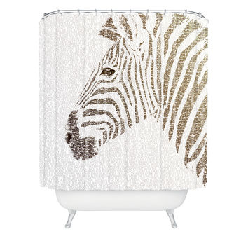 Belle13 The Intellectual Zebra Shower Curtain