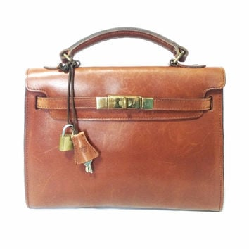 00b2b28996 Vintage Mulberry smooth brown leather Kelly bag with keys and padlock. Roger  Saul era.