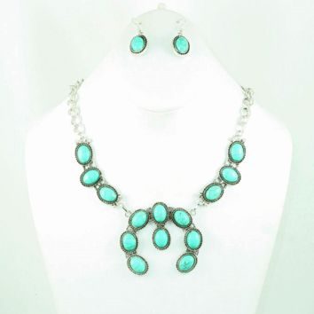 Turquoise And Silver Squash Blossom Necklace Set