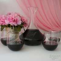 Bride and Groom Deep Carved Wine Carafe with Font Selection & OPTIONAL Engraved Stemless Red Wine Glasses with Couple's Monogram Options