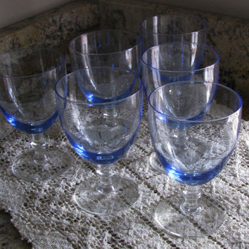 Vintage Pretty Blue Glass Stemware, Set/6, Compliments Any Home Decor, Perfect Wedding Gift, Compliments Any Home Decor