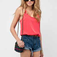 Sleek Racerback Tank Top in Coral Red :: tobi