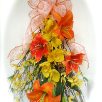 Silk Floral Swag -Spring Wreath- Twig Door Swag-Yellow Floral Swag  Front Door Swag with Lilies