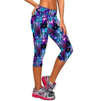 PEAPON 2017 Women Fitness High Waist Sporting Capri Cropped Leggings Workout Bodybuilding Gymming Runs Pants Exercise Yogaing Clothing
