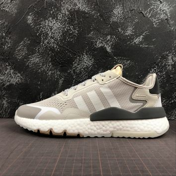 hcxx A1168 Adidas Nite Jogger 2019 3M Reflection Boost Running Shoes White Gray