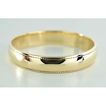 3.8 mm Wide Ribbed Edges Solid 10k Yellow Gold Band Ring
